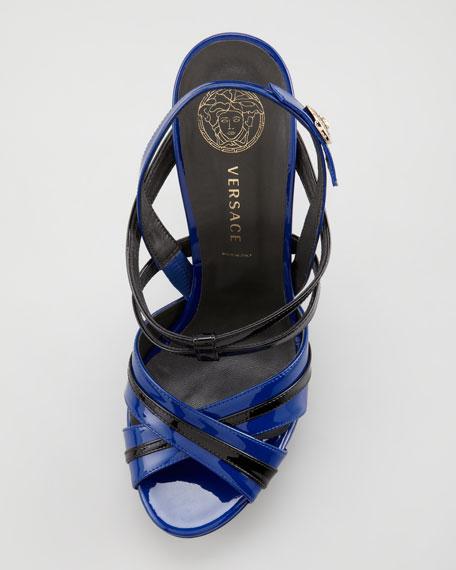 Double-Platform Patent Sandal, Black/Blue
