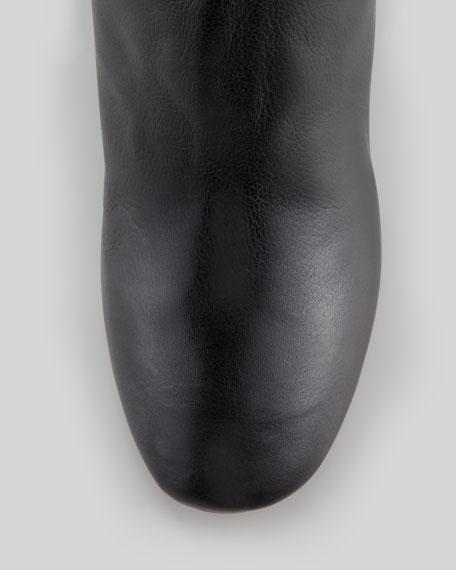 Paula Leather Wedge Boot, Black