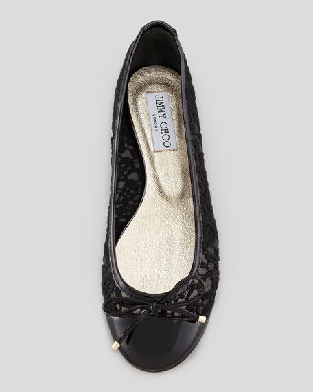 Waltz Lace Patent Ballerina Flat, Black