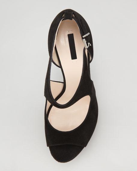 Keyhole Platform Sandal, Black