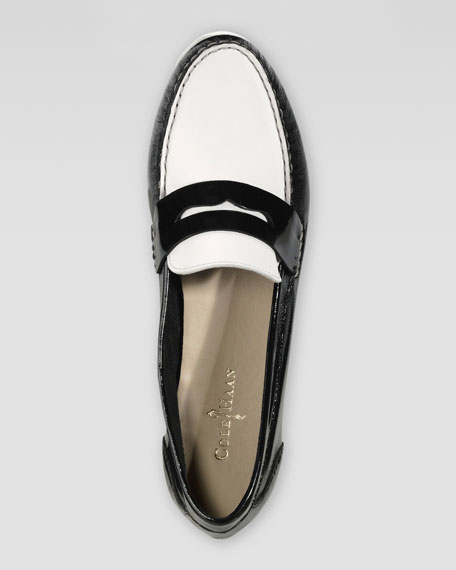 Monroe Deconstructed Penny Loafer, Black/White