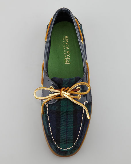 Authentic Original Plaid Boat Shoe, Navy/Green