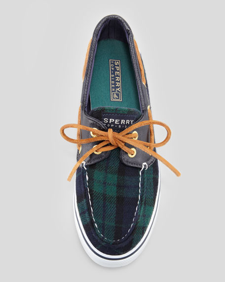 Plaid Bahama Boat Shoe, Navy/Green