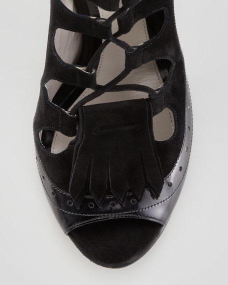 Lace-Up High Heel Platform Sandal, Black