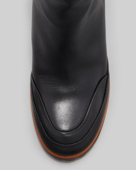 Sporty Mid-Calf Boot, Black/Olive/Orange