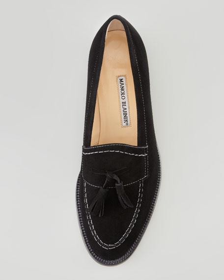 Aldena Tasseled Suede Loafer, Black