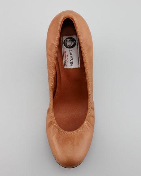 Calfskin Ballerina Wedge Pump, Cognac