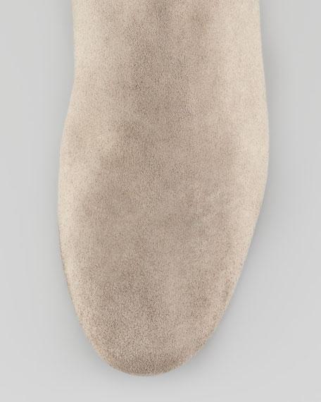 Suede Wedge Knee Boot, Gray