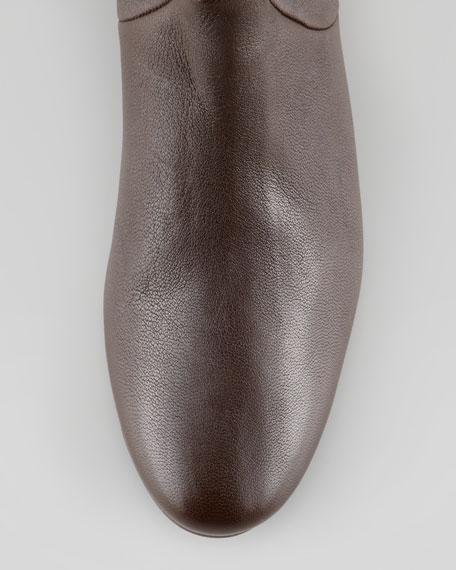 Leather Wedge Knee Boot, Dark Brown
