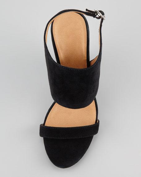 Ellice Suede Glossy-Wedge Sandal, Black