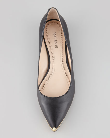 Rena Metal-Tipped Leather Flat
