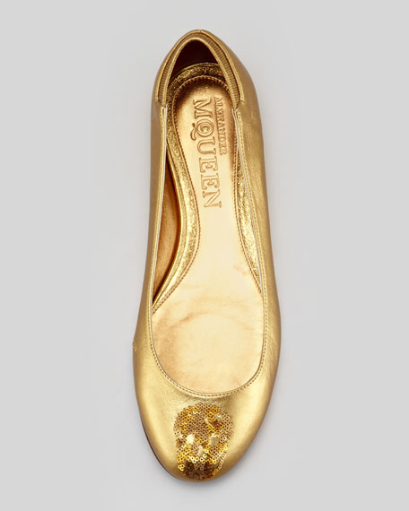 Skull Sequined Metallic Ballerina Flat, Gold