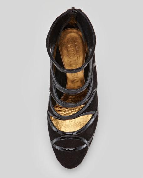 Patent-Trim Suede Bowed-Heel Bootie, Black
