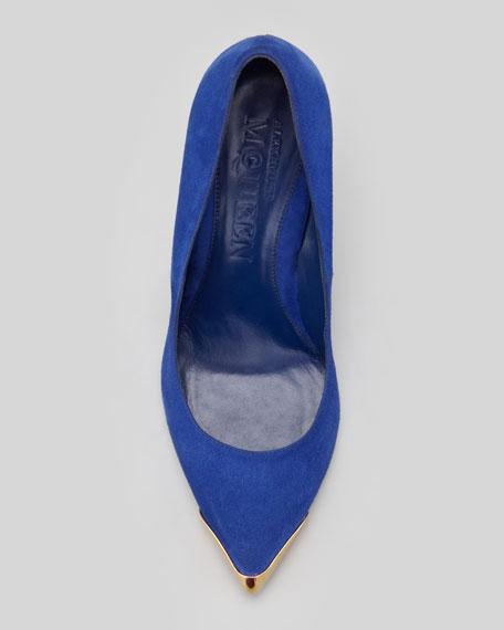Pointed Metal-Toe Suede Pump, Royal Blue