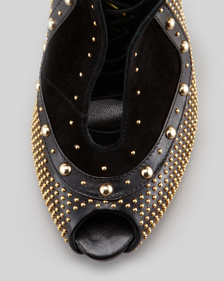 Studded Leather Lace-Up Bootie, Black