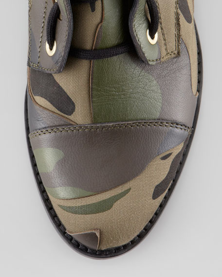 Camo Leather & Canvas Combat Boot, Army Green