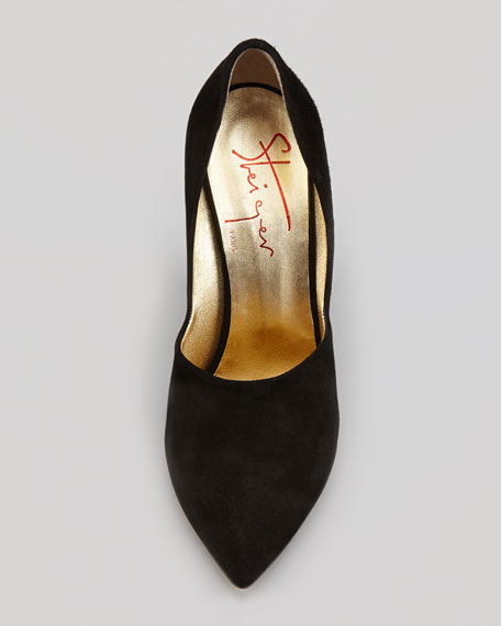 Suede High-Vamp Curved-Heel Wedge Pump