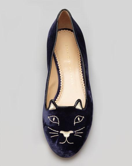 Kitty Cat-Embroidered Velvet Flat Slipper, Navy