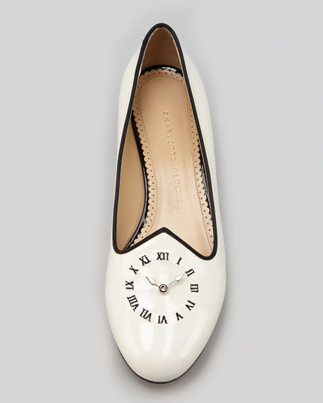 Fashionably Late Patent Clock Face Slipper