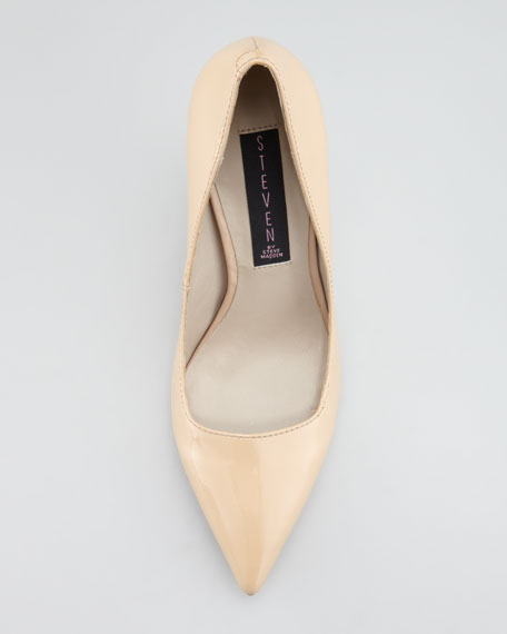 Mikka Patent Point-Toe Pump, Nude