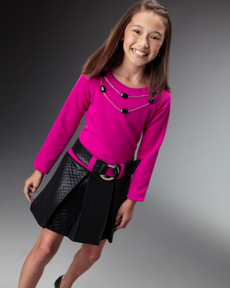 Quilted Bottom Dress With Belt