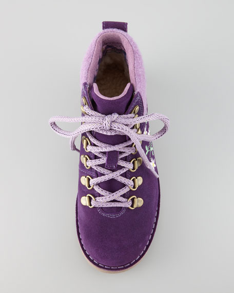 Barelo Embroidered Suede Lace-Up Boot