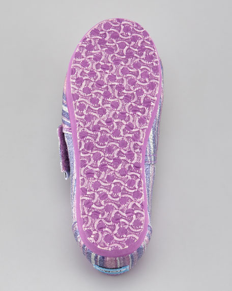 Purple Glitter Striped Slip-On, Tiny