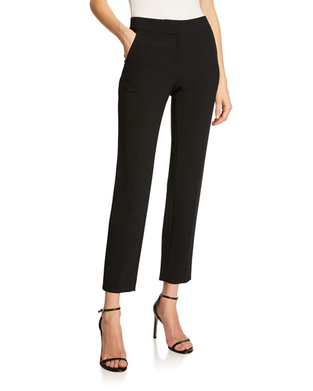 St. John Collection Emma Marocain Cropped Pants, Caviar