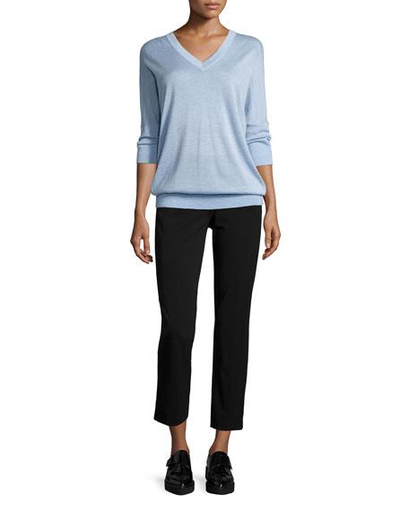 Derek Lam 3/4-Sleeve V-Neck Sweater, Chambray