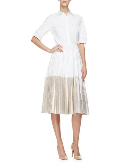 Half-Sleeve Two-Tone Midi Shirtdress, Champagne