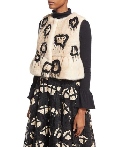 Co Embellished Mink Fur Vest, Natural