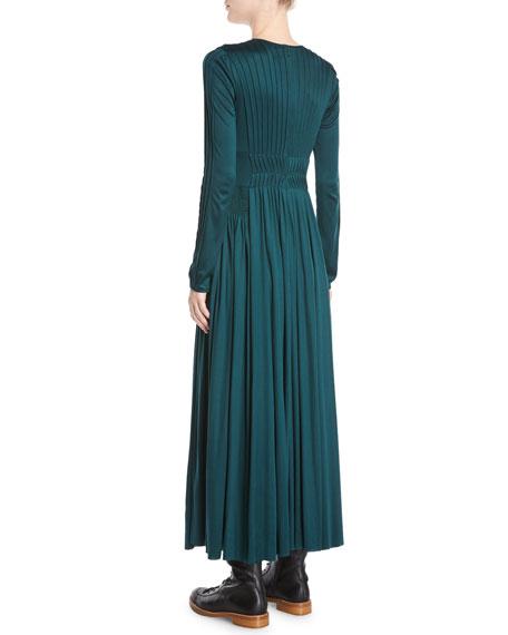 Hermina Long-Sleeve Pleated Silk Ankle-Length Dress
