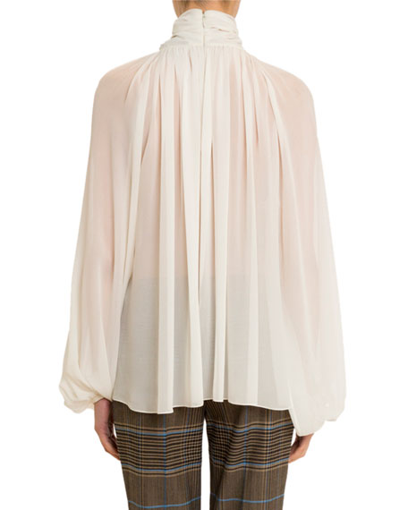 Givenchy Twisted Keyhole-Neck Blouse