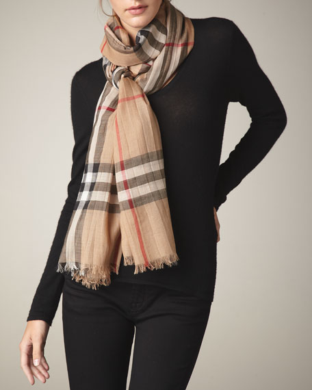 Burberry Gauze Check Scarf