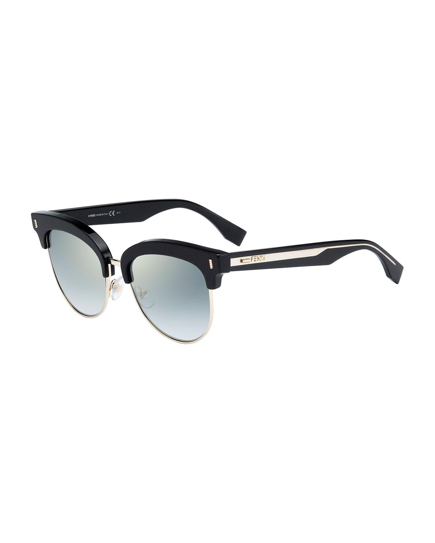 22152d91c9 Fendi Mirrored Half-Rim Sunglasses