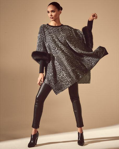 Sofia Cashmere Cashmere Poncho w/ Fur Cuffs