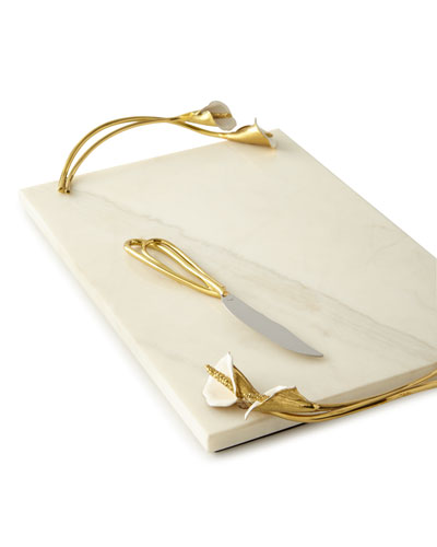 Calla Lily Cheese Board with Knife