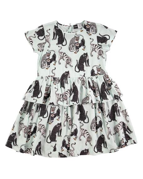 Molo Caitlin Tiger-Print Dress, Size 2T-12