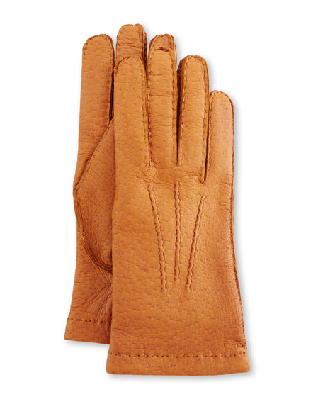 Image 1 of 1: Peccary Hand-Sewn Leather Cashmere-Lined Gloves