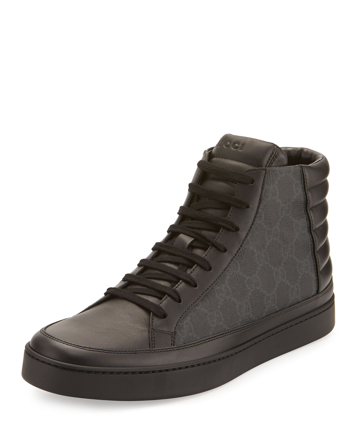b7ef4dcbd34 Gucci Men s Common Canvas   Leather High-Top Sneakers