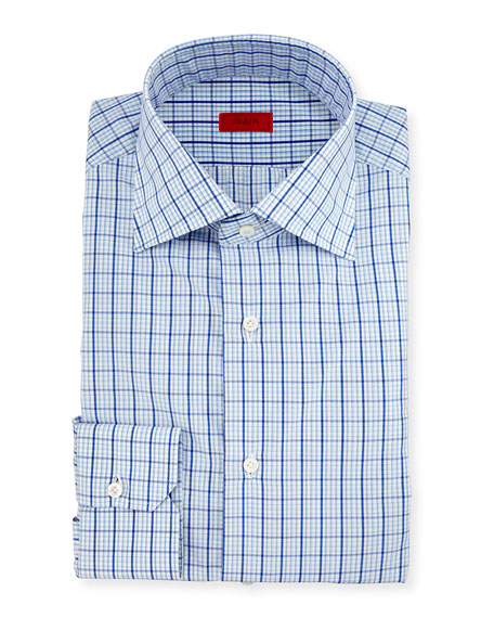 Isaia Box Check Mitered-Cuff Dress Shirt, White/Blue