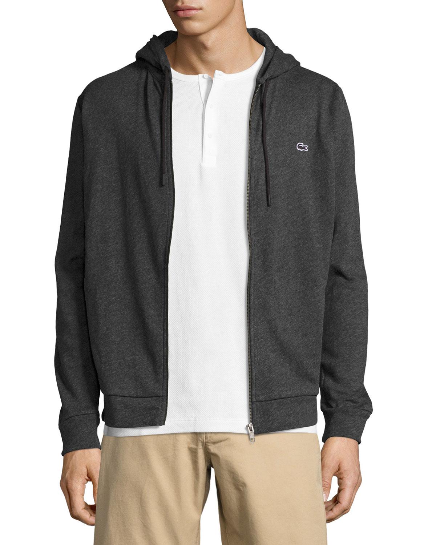 da9762cb497b1d lacoste Slub Fleece Zip-Front Hoodie