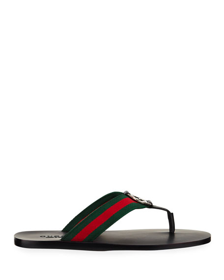 Image 3 of 5: Gucci GG Line Signature Web Thong Sandal