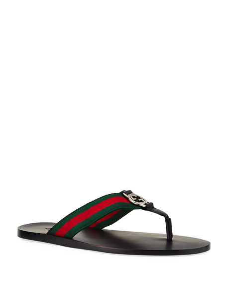 Image 1 of 5: Gucci GG Line Signature Web Thong Sandal
