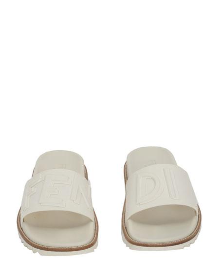 Fendi Rubber Slide Sandals w/ Raised Logo Detail