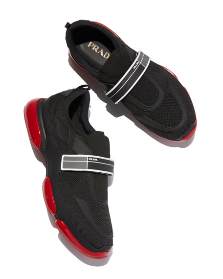 Prada Men's Cloudbust Knit Sport Sneakers with Single Grip-Strap