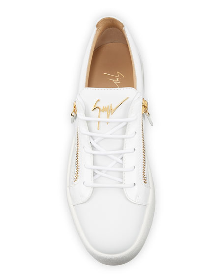 Image 2 of 4: Giuseppe Zanotti Men's London Double-Zip Leather Low-Top Sneakers