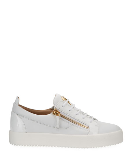Image 3 of 4: Giuseppe Zanotti Men's London Double-Zip Leather Low-Top Sneakers