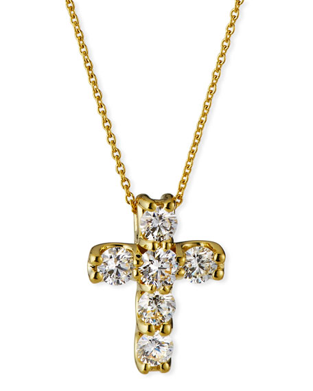 Roberto Coin 18k Diamond Square-Set Cross Pendant Necklace