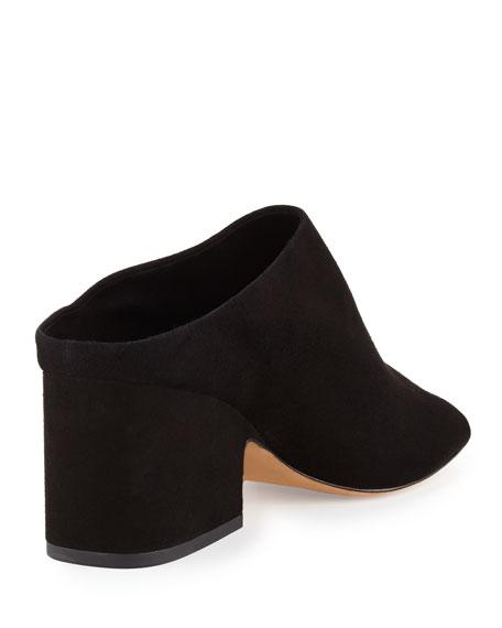 Petra Suede Block-Heel Mule Sandal
